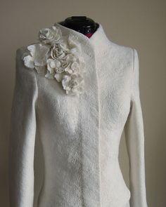 Warm Elegant Bridal Felted Jacket for Women by LittleEwesFriend, $260.00