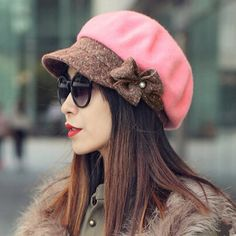 Elegance flower wool beret hat for women warm winter hats