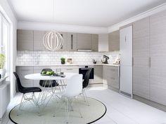 Modernt kök. Modell: Solid, Färg: Grå Alm   NordDesign Kök White Decor, Black And White, Furniture, Design, Kitchens, Image, Black N White, Black White, Cuisine