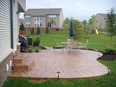 shape, stamped concrete patio