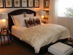 Take a look at the gold-on-white bedding...