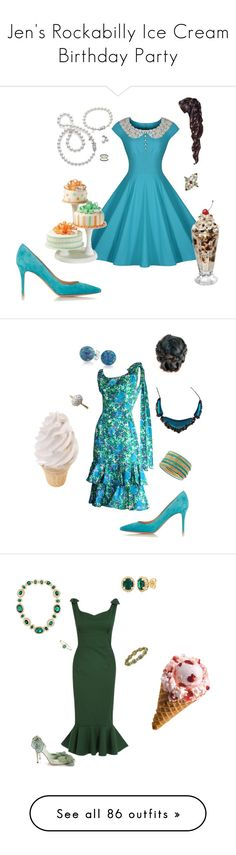 """""""Jen's Rockabilly Ice Cream Birthday Party"""" by thesassystewart on Polyvore featuring Miusol, Mikimoto, Gianvito Rossi, Epoque, Neiman Marcus, Bling Jewelry, Alexis Bittar, Jules Smith, Kenneth Jay Lane and Belk & Co."""