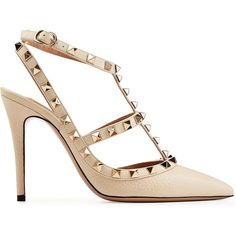 Valentino Rockstud Leather Pumps (3.265 RON) ❤ liked on Polyvore featuring shoes, pumps, ivory pumps, real leather shoes, leather shoes, genuine leather shoes and ivory leather shoes