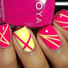 cute easy nail designs using tape : Nail Art Designs Tape Nail Art, Nail Art Diy, Diy Nails, Neon Nails, Tape Art, Fancy Nails, Love Nails, Pretty Nails, Crazy Nails