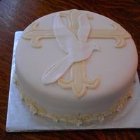 fondant dove | Cake is covered in fondant, I cut a dove and cross out of fondant ...