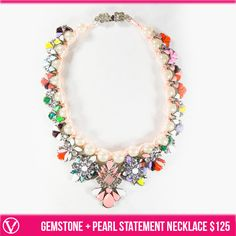 LIMTED EDITION Gemstone + Pearl Statement Necklace $125 #valeriejosephboutique phone orders welcome 8089425258