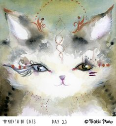 Helix by Nicole Piar #MonthofCats Cat Painting Illustration Watercolor