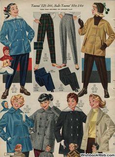 1950s Fashion Women, Retro Fashion, Classic Fashion, Classic Style, Vintage Ads, Vintage Vibes, Vintage Style, Vintage Winter Fashion, Christmas Catalogs