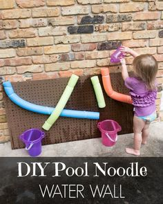 An easy and fun water activity for toddlers! This DIY Pool Noodle Water Wall Tutorial will give hours of fun for your little one! @huggies  #SwimAdventureContest #CB #Ad