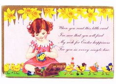 RESERVED 1920s EASTER Card With GOLD Leaf by ArchipelagoVintage