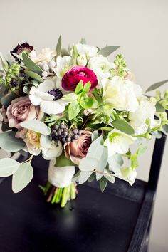 #ranunculus, #anemone, #eucalyptus  Photography: Isabelle Selby Photography - isabelleselbyphotography.com  Read More: http://www.stylemepretty.com/2014/05/22/vintage-speakesy-wedding-brooklyn/