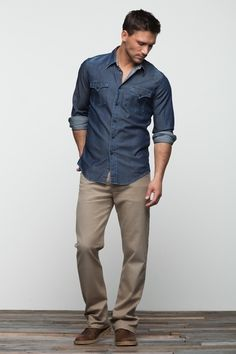 i like that shade of brown for shoes - goes with so many colors of pants. also, chambray is manly