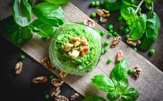 The walnuts bring the creaminess you'd expect from pesto but with none of the dairy! It's versatile and quick to make and can easily transform any dish. Just throw this pea and walnut pesto on some hot pasta, cold pasta, salad, or pizza for a salty, creamy topping!