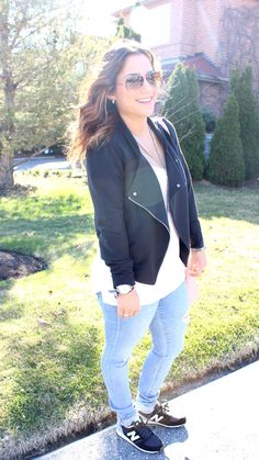 changing careers (and why blogging influenced this change) | http://somethingaboutthat.com | wearing moto jacket, ripped jeans and New Balance sneakers