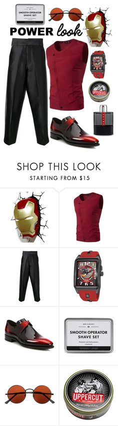 """MAN POWER"" by zulaikha55 ❤ liked on Polyvore featuring Marvel, Private Policy, Stührling, Corthay, Topman, Uppercut, Prada, men's fashion and menswear"