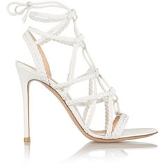 Gianvito Rossi Braided leather sandals (16 970 UAH) ❤ liked on Polyvore featuring shoes, sandals, heels, tie shoes, braided leather sandals, high heel sandals, caged high heel sandals and cage shoes