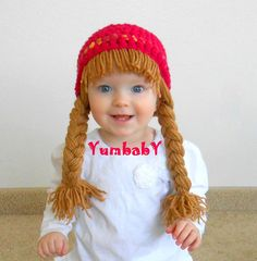 Baby Girl Baby Hats Hippie Beanie Pigtail Wig Hot Pink by YumbabY, $19.95 #baby #hat #girl #hippie #beanie #pink #brown #photo #props #photography #prop #pink #brown #handmade #crochet #newborn #toddler #etsy #cute #babies #yumbaby