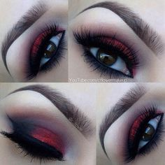 40 Eye Makeup Looks for Brown Eyes Red Glitter & Black Lidschatten Make-up Look Black Eyeshadow Makeup, Eye Makeup, Goth Makeup, Brown Eyeshadow, Glitter Makeup, Makeup Tips, Beauty Makeup, Makeup Ideas, Red Glitter Eyeshadow