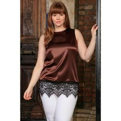 Chocolate Brown Sleeveless Chic Dressy Top With Lace - Women Plus Size