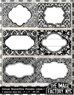 Black and White Damask Printable Labels & Tags, for gift tags, place cards, recipe cards, labeling, etc (TIFNYC-DBWLBL-1) Download and Print. $3.00, via Etsy.