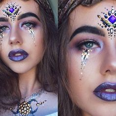 ♢FORTUNE TELLER For the gypsy dreamers #HalloweenParty inspiration!  To re-create this look by our Dream Girl @charfen_ follow the link in our bio to find our Rainbow Pixie, Dark Siren Gems and mix of Glitters ✨✨♢
