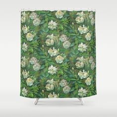 """White roses, green leaves"" Shower Curtain by Clipso-Callipso 