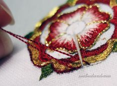 Goldwork & Silk Tudor-Style Rose: An Outline -- plus over 50 needlework tutorials on Mary Corbet's Needle 'n Thread