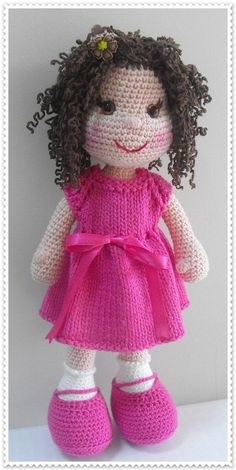 Amigurumi doll in pink Crochet Fairy, Love Crochet, Crochet For Kids, Beautiful Crochet, Beautiful Dolls, Knit Crochet, Crochet Toys Patterns, Amigurumi Patterns, Crochet Crafts