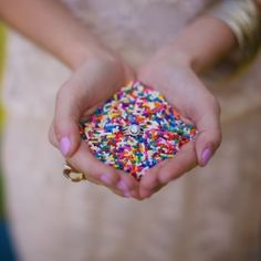 toss sprinkles instead of rice for a rainbow wedding exit...too cute!