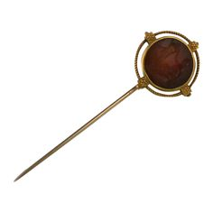F.W. Lawrence Revivalist Gold Stickpin | From a unique collection of vintage brooches at https://www.1stdibs.com/jewelry/brooches/brooches/