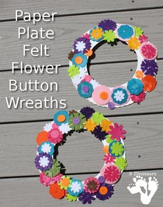 Paper Plate Felt Button Flower Wreath - a fun spring craft that is easy to make with kids - 3Dinosaurs.com