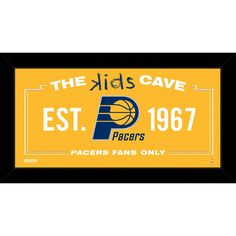 Indiana Pacers 6x12 Kids Cave Sign - Celebrate your allegiance to your favorite NBA team with this incredible Framed 6x12 Kids Cave Sign. This sign is perfect for a childs room wherever they want to proudly display their fandom. This piece comes framed & ready to go up on any wall!. Gifts > Licensed Gifts > Nba > Indiana Pacers. Weight: 1.00