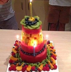 Healthy alternative fruit birthday cake