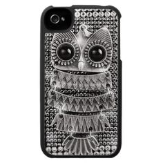Cute Bling Silver Owl iPhone 4 Case
