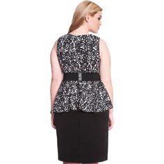 ELOQUII Studio Peplum Dress (60 CAD) ❤ liked on Polyvore