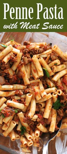 So easy! Penne pasta tossed with a simple tomato sauce with ground beef, onions, Italian seasoning, garlic, and basil. A perfect, budget-friendly, midweek meal. Kid friendly too. On SimplyRecipes.com #penne #Pasta
