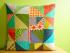 Pinwheel Improv Pillow Cover by stitchindye on Etsy, $70.00