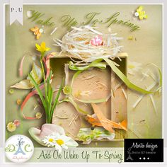 A beautiful Add On Wake Up To Spring by Marta Designs     The set includes 3 papers,17 elements