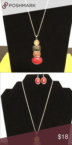 Faux druzy/amber necklace earring set! Colorful set! Jewelry Necklaces