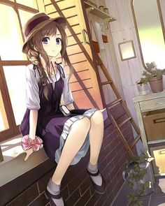 ✮ ANIME ART ✮ pretty girl. . .anime girl. . .hat. . .hair. . .braid. . .dress. . .sitting. . .cute. . .kawaii