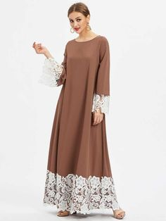 SheIn offers Floral Lace Detail Kaftan Dress & more to fit your fashionable needs. Abaya Fashion, Muslim Fashion, Modest Fashion, Fashion Dresses, Trendy Dresses, Simple Dresses, Casual Dresses, Linen Dresses, Floral Dresses