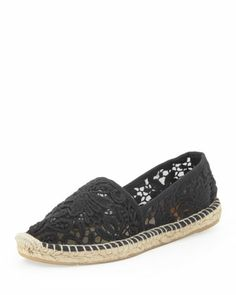 Jackie Flat Lace Espadrille, Black by Tory Burch at Neiman Marcus.    ebay