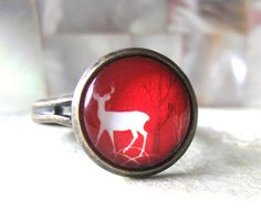 Stag in Forest, Victorian style antique bronze glass cabochon ring (adjustable)