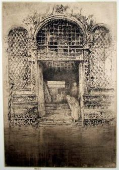 'The Doorway', by James Abbott McNeill Whistler. (1834-1903) Drypoint