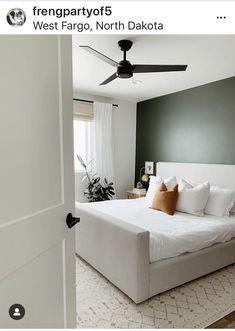 Bedroom Inspo, Home Bedroom, Modern Bedroom, Bedroom Decor, Bedroom Ideas, Green Master Bedroom, Buying First Home, Green Accent Walls, Diy 2019