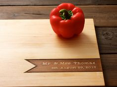 Mr & Mrs Personalized Cutting Board - 12x16 - family name - custom wedding or anniversary gift for foodie couple