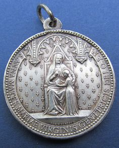 Antique French Saint Anne And Child Virgin Mary Saint Monica Religious Medal Signed Penin  SS04