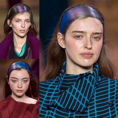 "James Pecis for Issey Miyake / Paris a/w18 /  mesmerizing hairstyle inspired by the Northern Lights. Pecis created a headband out of the models' own hair, then sprayed it with a mix of blue, purple, and green temporary hair-dyes. ""We're layering and blending the colors in a way that when the models walk, the colors will shift and change in the light,"" he said."
