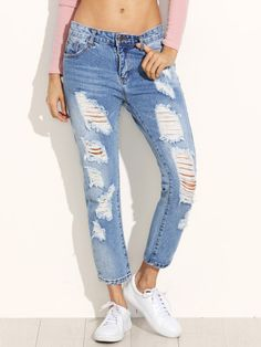 Blue Ripped Ankle Jeans