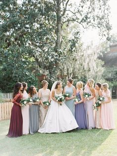 Mix-and-match bridesmaid dresses - garden-style bridesmaid dresses in pastel hues {Beautiful Bride Events}